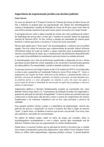 Artigo - Importância da argumentação jurídica nas decisões judiciais