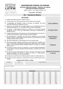 Prova Residência Médica - Acesso Direto - UFPR 2010