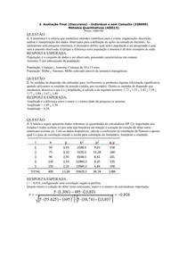 Prova Final Discursiva de Métodos Quantitativos Uniasselvi