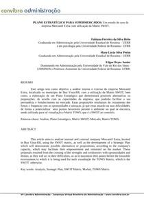 PLANO ESTRATÉGICO PARA SUPERMERCADOS_Um estudo de caso da empresa mercantil extra com a utilização da matriz SWOT