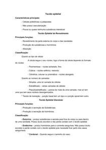 a1a9cdc2bff0c Resumo Histologia Principais características dos tipos de tecidos. 5 pág.