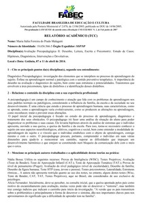 Relatorio Academico Tcc Iii Módulo Psicopedagogia