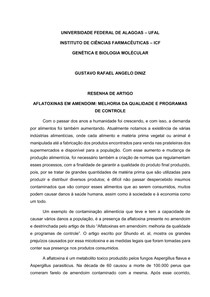 Aflatoxina - resenha - Gustavo R A DINIZ