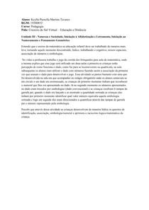 Unidade III - Natureza e Sociedade, Iniciação à Alfabetização e Letramento, Iniciação ao