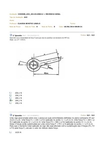 AV2 Mecânica Geral