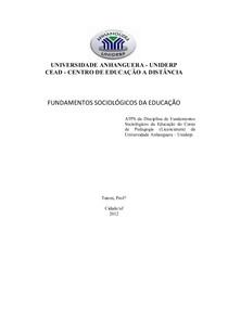 ATPS - FUNDAMENTOS SOCIOLÓGICOS DA EDUCAÇÃO