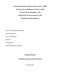 Química Orgânica - Destilação Simples de gasolina