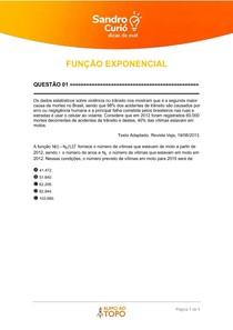 QUESTÕES NÉCTAR - FUNÇÃO EXPONENCIAL 2 - 02 2021
