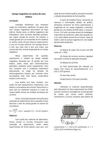 Relatório: Campo magnético no centro de uma bobina