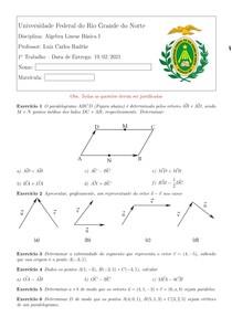 Resolução de exercícios de álgebra linear básica