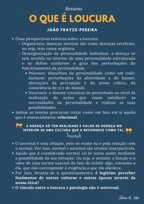 Resumo livro O que é loucura - João Frayze-Pereira
