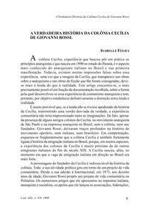 FELICI, I.   A Verdadeira História da Colônia Cecília de Giovanni Rossi (artigo)