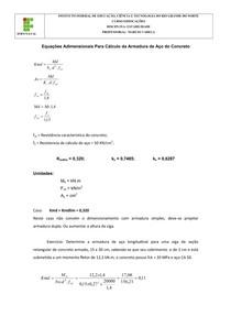 Equacoes Adimensionais Para Calculo da Armadura de Aco do Concreto