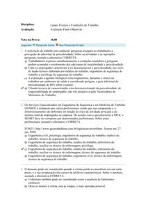 Laudo Técnico e Condições do Trabalho AVALIAÇÃO Final Objetiva