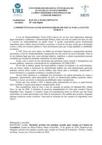 LEI DE RESPONSABILIDADE FISCAL (LRF)