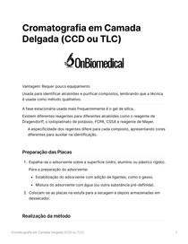 Resumo Cromatografia em Camada Delgada (CCD ou TLC)