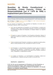Imunidade, Crimes Comuns, Crimes de Responsabilidade (Lei nº 1 079 de 1950) e Impeachment