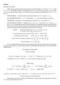 Matrizes completo (operações, propriedades, determinante, método de resolução de sistemas lineares) e vetores completo (operações e propriedades)