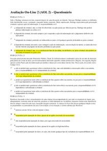 AOL2 - Questionário - Responsabilidade Civil