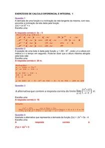 EXERCÍCIOS DE CALCULO DIFERENCIAL E INTEGRAL 1