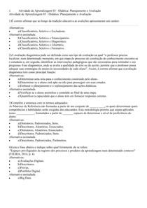 Atividade de Aprendizagem 03 Didatica Planejamento e Avaliacao