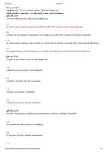 presencial Prova em PDF Disciplina: 100776 - FILOSOFIA DAS CIÊNCIAS SOCIAIS