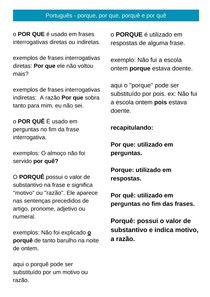 Português - porque, por que, porquê e por quê (resumo)