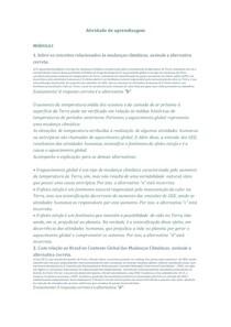 ATIVIDADES DE APRENDIZAGEM - MUDANÇAS CLIMÁTICAS E AGRICULTURA
