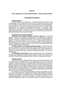 Elementos de Teoria Geral do Estado Dalmo de Abreu Dallari - SISTEMAS DE GOVERNO