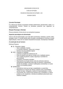 Resumo Psicologia Nutrição Av1 - RCD