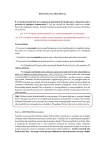 Resumo DOAÇÃO - Direito Civil