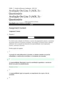 Avaliação online 3 (AOL3) Questionário RESPOSTAS