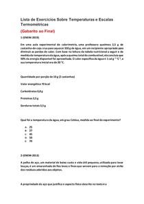 Lista de Exercícios de Física do Enem Sobre Temperaturas e Escalas Termométricas