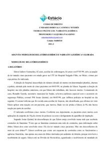 MODELOS DE  RELATÓRIO JURÍDICO