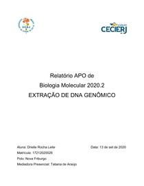 Relatório APO - Biologia Molecular 2020 2