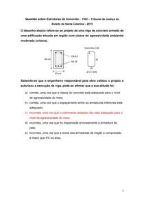 Questão sobre Estruturas de Concreto - FGV Tribunal de Justiça do Estado de Santa Catarina 2015