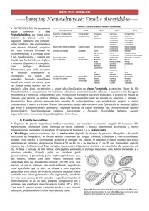 Parasitas Nematelmintos: introdução + família Ascarididae