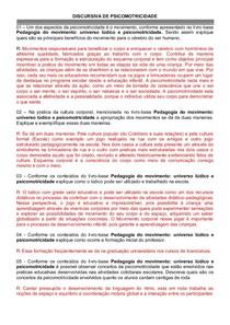 DISCURSIVA DE PSICOMOTRICIDADE