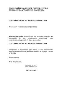 Modelo Contrarrazão De Recurso Ordinário Jt Pratica Jurídica