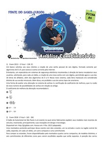 FICHA 6 DE QUESTÕES - ANÁLISE COMBINATÓRIA