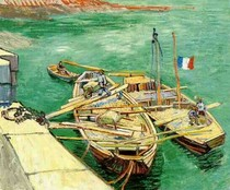 Vincent Willem van Gogh-Quay-com-Men-Descarga-Sand-Barges