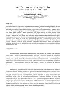 ARTES VISUAIS NA EDUCAÇÃO   estereótipos paper