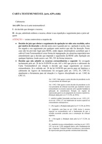 CARTA TESTEMUNHÁVEL (arts 639 a 646) - Processo Penal