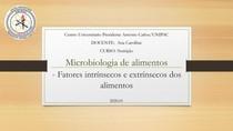 AULA 3 - Fatores intrínsecos e extrínsecos dos alimentos