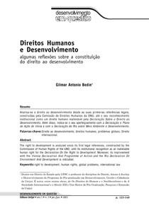 BEDIN, Gilmar Antonio. Direitos Humanos e Desenvolvimento algumas reflexões sobre a constituição do direito ao desenvolvimento