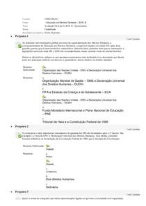 Avaliação On Line 3 (AOL 3)   Questionário  Educação em Direitos Humanos