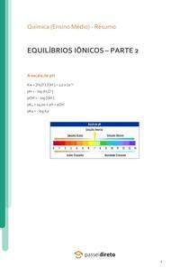 Equilíbrios iônicos: produto iônico da água e escala de pH e pOH - Resumo