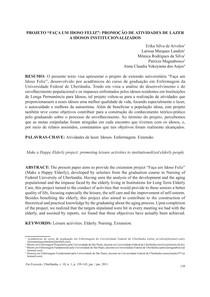 PROJETO FAÇA UM IDOSO FELIZ: PROMOÇÃO DE ATIVIDADES DE LAZER A IDOSOS INSTITUCIONALIZADOS