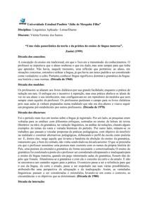Atividade de Linguística Aplicada: ensino de língua materna
