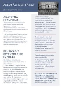 Oclusão Dentária- ATM, posições e relações mandibulares, contatos oclusais, chaves e classes